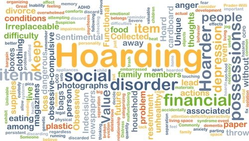 Hoarding Word Cloud - words associated with hoarding disorder.